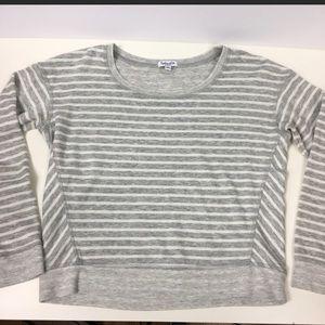 Grey Striped Splendid Cropped Tee XS